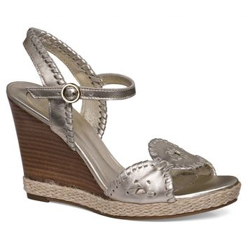 Clare Rope Wedge Sandal in Platinum by Jack Rogers - FINAL SALE