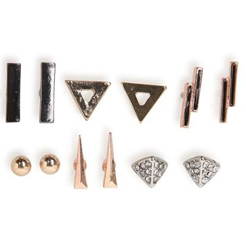 With Love From CA Geo Set Of 6 Earring Pack - Womens Jewelry - Multi - One