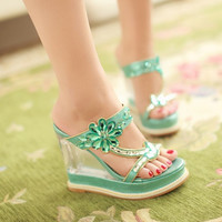Platform Sandals Slides Rhinestone Wedges Women Pumps High Heels Shoes Woman 3600