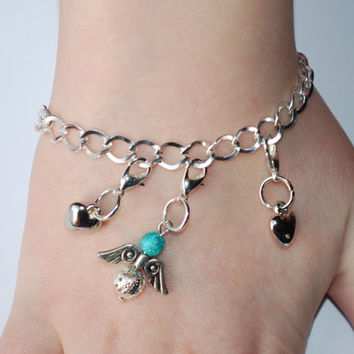 Chain bracelet with charms, Angel Hearts bracelet, valentinesgift
