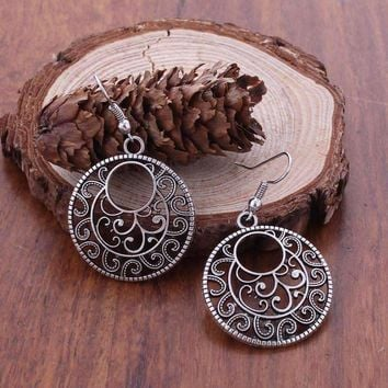 Round Boho Scroll Silver Patina Hook Earrings