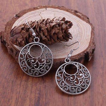 CLEARANCE - Round Boho Scroll Silver Patina Hook Earrings