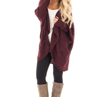 Burgundy Knit Cardigan with Dolman Sleeves and Pockets