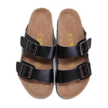 2017 fashion Birkenstock Summer Fashion Leather Cork Flats Beach Lovers Slippers Casual Sandals For Women Men black Couples Slippers size 36-45-3