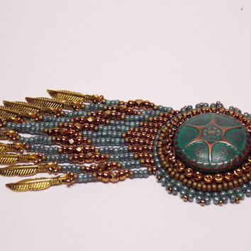Bead embroidery pendant Seed bead necklace Bronze Turquoise