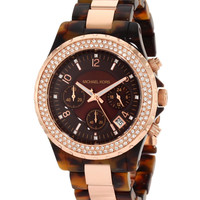 Michael Kors MK5416 Women's Rose Gold Tone Brown Dial Crystal Chronograph Plastic Watch