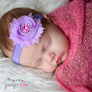Newborn headband - Lavender headband - Baby headband - baby hairbow - baby girl bows - stocking stuffer