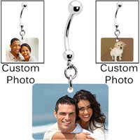 Full Color Rectangle Custom Photo Belly Ring | Body Candy Body Jewelry