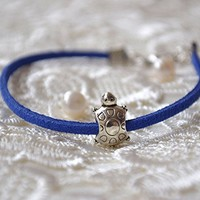 Turtle bracelet Pandora charm leather