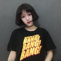 2017 Summer K-pop BigBang Fashion BangBangBang Printed T-shirt Women Couples Street Hiphop Short sleeve Black camisetas mujer