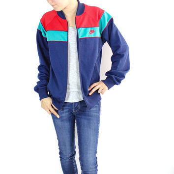 Vintage Retro Nike Blue Zip-Up Sports Athletic Jacket
