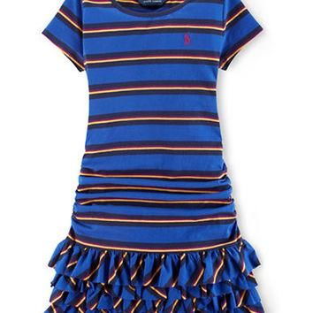 Ralph Lauren Childrenswear Girls 7-16 Striped Ruffle Dress
