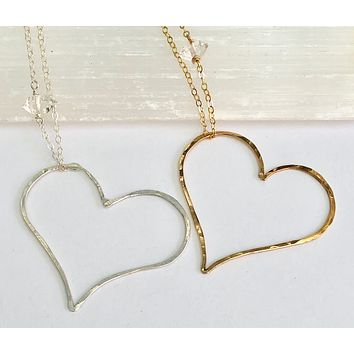 Amore Gold or Silver Hammered Open Heart Necklace Handmade | TL Jewelry