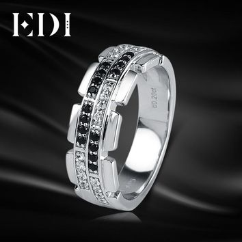 EDI Luxury Natural Diamond 14K 585 White Gold Wedding Ring For Men Real Diamond Bands Jewelry Gentleman Christmas Gift