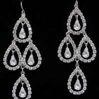 Silver Rhinestone Open Teardrop Chandelier Earrings - Unique Vintage - Prom dresses, retro dresses, retro swimsuits.