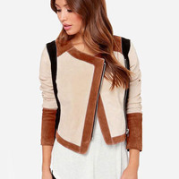 Beige Stitching Three Quarter Sleeve Short Jacket