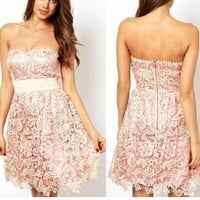 HOLLOW OUT EMBROIDERY LACE DOUBLE DRESS
