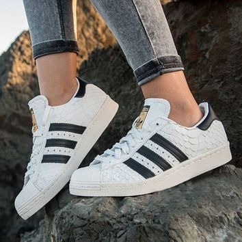 adidas Originals Superstar 80S Gold Logo Scale Fashion Shell-toe Series Flats Sneakers Sport Shoes