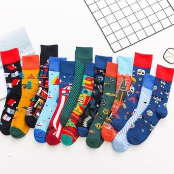 PEONFLY New Stripe Jacquard Book Car Cartoon Embroidered Women Colorful Happy Socks High-quality Casual Cotton Short Sock Autumn