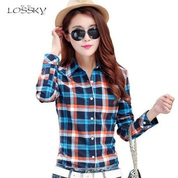 IKCKU62 2017 Spring Women's Fashion Plaid Cotton Shirt Female College Style Blouses Long Sleeve Flannel Shirts Plus Size Office tops 5XL