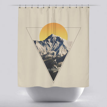 Unique Shower Curtain - Triangle Mountains by Leftfield_Corn