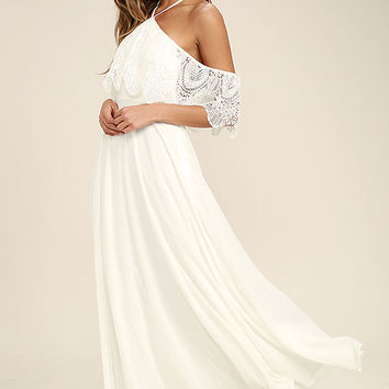 Unmatched Beauty White Lace Off-the-Shoulder Maxi Dress