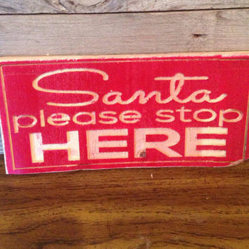 Santa Please Stop Here Red Carved Wooden Rustic Sign Christmas Wreath Window Door Decor lcww #Children