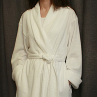 Short Shawl Collar Robe Cotton/Poly Basket Weave Made In USA | Simple Pleasures, Inc.
