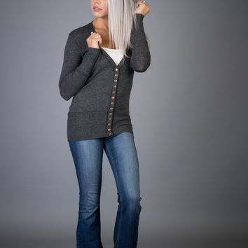 Classic Snap Button Cardigan in CHARCOAL (S-XL)