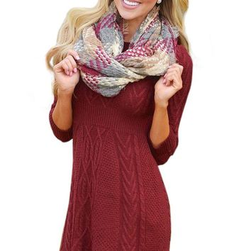 Fashion Burgundy Cable Knit Fitted Sweater Dress