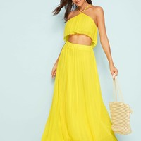 Solid Pleated Cami Top With Maxi Skirt