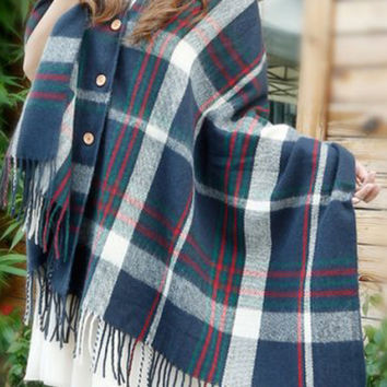 Navy Plaid Printed Fringed Cape