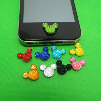 8 Colors Bling Crystal Minnie Mickey Home Button Sticker for iPhone 3,4,4s,5,ipad 2,3,4,iPod Touch 2,3,4,5