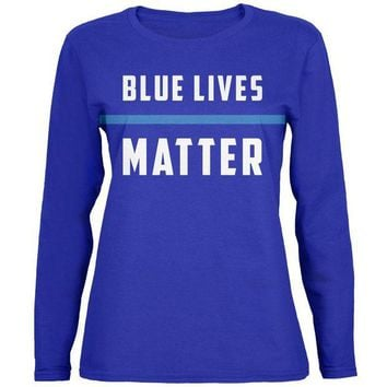 DCCKU3R Police Blue Lives Matter Thin Blue Line Womens Long Sleeve T Shirt