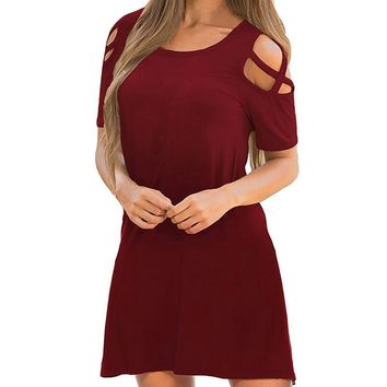 Moda mujer 2019 Women Summer Solid loose dress Sexy Casual Cross Short Sleeve Off Shoulder T-Shirt Dresses vestidos de festa