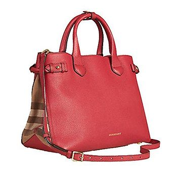 Tote Bag Handbag Authentic Burberry Medium Banner in Leather and House Check Russet Red Item 39807951