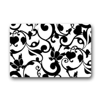 Autumn Fall welcome door mat doormat Fantastic  Black and White Damask Pattern French Floral Swirls  Rug Indoor Front Bathroom Mat Bedroom  AT_76_7