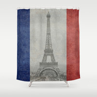 Distressed National Flag of France with Eiffel Tower insert Shower Curtain by Bruce Stanfield
