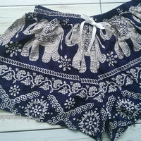 Elephants Aztec Ethnic Print Shorts Boho Chic Tribal Fashion Clothing Bohemian Ikat Boxers Cute Women Unique Summer Beach Hobo Dark Blue