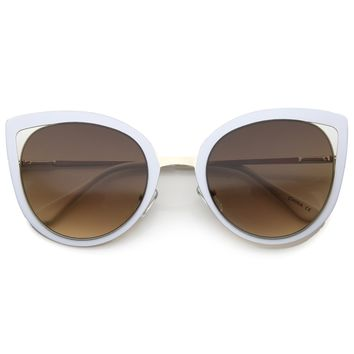 Women's Round Laser Cut Cat Eye Sunglasses A525