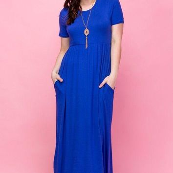 Preorder: The Rommy Maxi Dress - Curvy- Cobalt