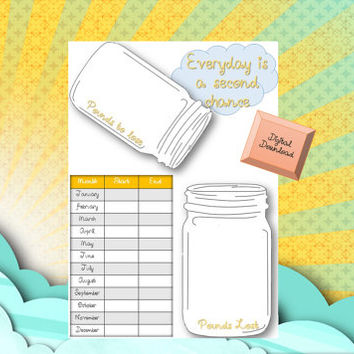 Weight loss tracker, digital download, mason jars, monthly tracker, fitness goals, exercise goals, exercise tracker, Filofax A5, kikki k
