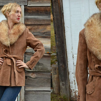 1970s Bohemian Bombshell Suede Leather & Fur Collar Jacket