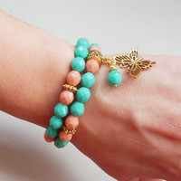 Women's stretch bracelet set Pink ant turquoise women stretch bracelet set Teen girls bracelet set