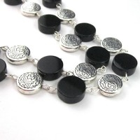 Linked coin bead necklace black onyx etched silver adjustable