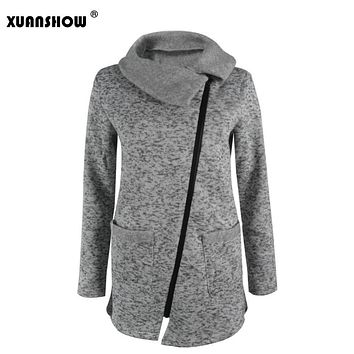 XUANSHOW 2017 Winter Autumn Women's Sweatshirt Turn-Down Collar Zipper Coat Plus Size Warm Female Corp Tops Zip-up S-5XL
