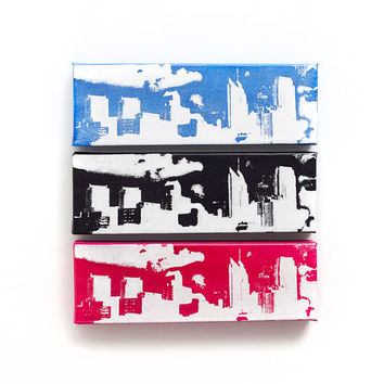 Philadelphia Skyline Canvas (Black w/ White) Screenprint/Painting, Philadelphia Wall Art