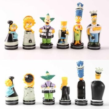 Chess Set Simpson Homer Bart doll Chess The Playful Color Puzzle Game Chessman-Travel Home Cartoon Character Children Chess Set