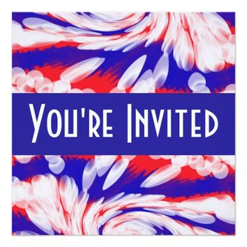 red white and blue 5.25x5.25 square paper invitation card