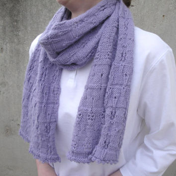Soft Lavender Scarf, Alpaca Angora Wool, Hand Knit, Women & Teen Girls, Luxury Natural Fiber, Lace Pattern CHRISTMAS GIFT